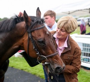 Trainer Julia Brooke with STAGS LEAP after  training a double at Cartmel 23/7/18 Photograph by Grossick Racing Photography 0771 046 1723